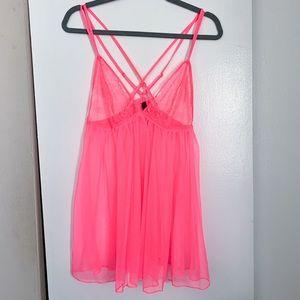 Victoria's Secret XL Hot Pink Lace Babydoll